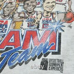 Vintage 1992 USA Dream Team Caricature Salem Sportswear (size L) Jordan Magic