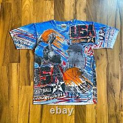 Vintage 1992 USA Olympic Magic Johnson And Michael Jordan All-over Print T-shirt