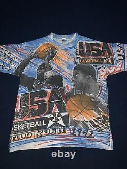 Vintage 1992 Usa Dream Team All Over Print Magic Johnson T Michael Jordan Large