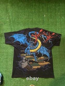 Vintage 1994 Fighting Dragons shirt All Over Print Liquid Blue XL