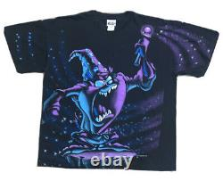 Vintage 1996 TAZ Wizard All Over Print 2 SIDED T-Shirt Sorcerer Looney Tunes XL