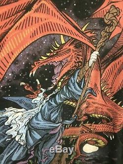 Vintage 1997 Wizard Battle Dragon shirt All Over Print Liquid Blue XL #5632