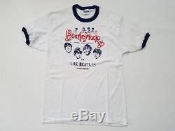 Vintage 80s Beatle Magic Ringer T Shirt Mens Large The Beatles Boston Hanes 1986