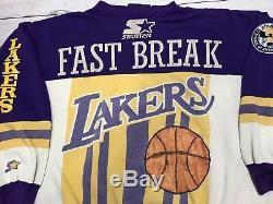 Vintage 80s Los Angeles Lakers Starter Sweater Mens Large Magic Johnson Nba Rare