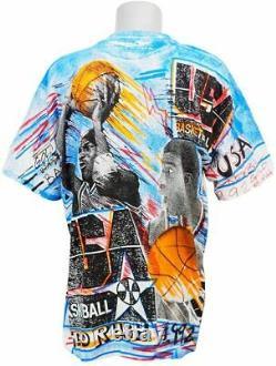 Vintage 90's Michael Jordan Magic johnson T's Tee T Shirt Large All Over Print