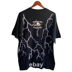 Vintage 90s American Thunder Wizard Shirt All Over Print Lightning USA Skull