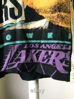 Vintage 90s Los Angeles Lakers Magic Johnson Tee T Shirt L All Over Print Belton