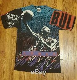 Vintage 90s Michael Jordan All Over Print Magic Johnson T Shirt Crazy Colors L