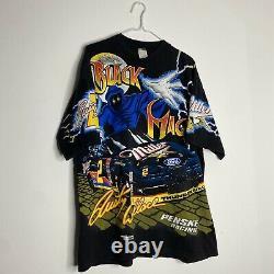 Vintage 90s NASCAR All Over Print Shirt Black Magic Rusty Wallace Lightning XL