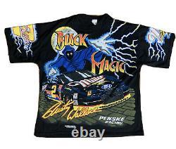 Vintage 90s NASCAR All Over Print T Shirt Black Magic Rusty Wallace Adult XL
