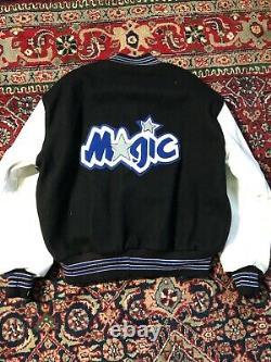 Vintage 90s Orlando Magic jacket size XL LEATHER WOOL VARSITY LETTERMAN