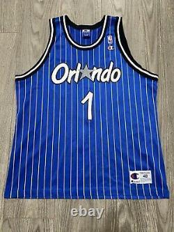 Vintage Champion Mens Sz 48 Orlando Magic Penny Hardaway Pinstripe Blue Jersey