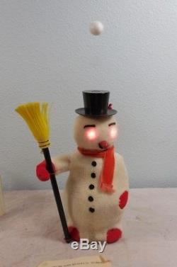 Vintage Christmas Japan Magic Snow Man Working In Org Box