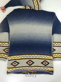 Vintage Cowichan Sweater Zip Up Hoodie Wizard Hood rare handmade XL