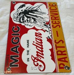 Vintage Indian Magic Porcelain Sign Motorcycles Man Cave Garage Sign Chief Hog
