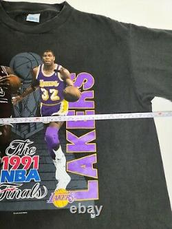 Vintage Jordan Magic Bulls Lakers NBA Finals 1991 Tshirt Size XL Doublesided Rap