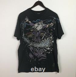Vintage Liquid Blue Wizard All Over Print Black Shirt Mens Size Large