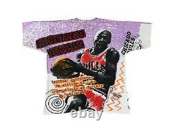 Vintage Michael Jordan Chicago Bulls Magic Johnson Ts Mega Print T-Shirt XL