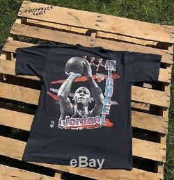 Vintage Micheal Jordan Chicago Bulls Rap T-Shirt Black XL Magic Johnson Ts