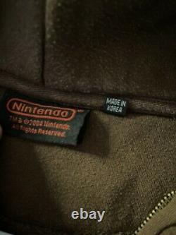 Vintage Retro Nintendo ZipUp Hoodie Magic Mushroom Brown WithEmbroidered Logo XL