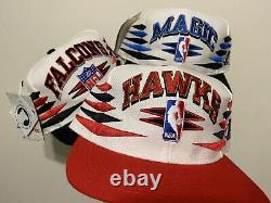 Vintage Snapback Hat Lot Of 3 Logo Athletics Diamond Cut, Hawks Magic Falcons