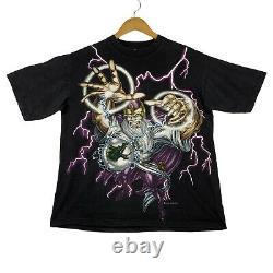 Vintage USA Thunder Wizard Dragon Crystal Ball Graphic T Shirt Mens Size XL