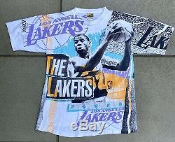 Vintage Vtg Magic Johnson Ts All Over Print Los Angeles Lakers T-shirt Size M