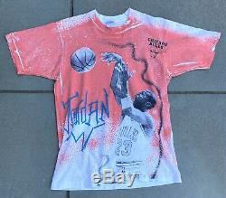 Vintage Vtg Michael Jordan Chicago Bulls All Over Print Magic Johnson Ts Size L