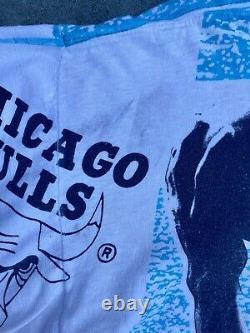 Vintage Vtg Michael Jordan Chicago Bulls All Over Print Magic Johnson Ts Size M