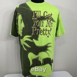 Vintage Wizard Of Oz T Shirt All Over Print Wicked Witch Movie Promo Tee L/XL