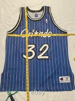 Vintage vtg 90s Orlando Magic SEWN champion shaquille oneal shaq 48 jersey blue