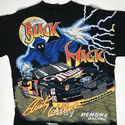 Vtg 1990s Rusty Wallace Black Magic Nascar Tshirt Mens Xl Allover Print Rap Tee