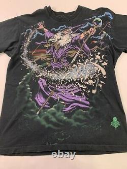 Vtg 1994 Liquid Blue Magical Wizard Tshirt Mens XL Single Stitch All Over Print