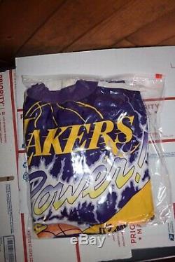Vtg 80s L A Lakers Showtime Magic Kareem Worthy Chalk Line Jacket, Size Large