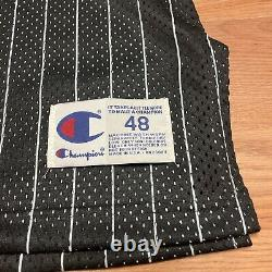 Vtg Champion Orlando Magic Shaquille O'neal Authentic Black Striped Jersey 48 XL
