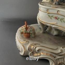 Vtg Irish Dresden Lace Porcelain Group Piano Lady & Magic Flute Man Figurine