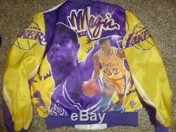 Vtg Magic Johnson L. A. Lakers NBA Fanimation Chalk Line Satin Jacket Sz Men's L