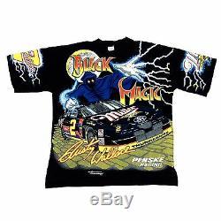 Vtg Rare NASCAR #2 Rusty Wallace Black Magic All Over Print T Shirt. Men's Large