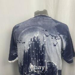 Vtg Wizard Of OZ Sz Large L Shirt 90s All Over Hand Print Stanley Desantis Field