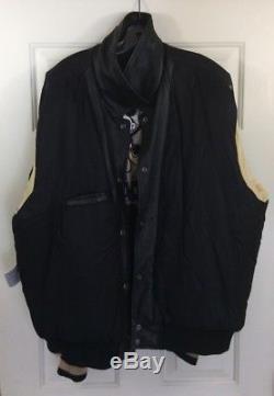 Walt Disney World 100 Years Of Magic Leather Jacket Mens Sz 2XL Black / Cream